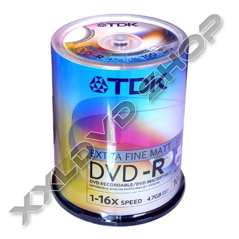 TDK DVD-R 16x Full Printable Cake (100)